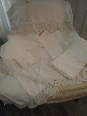 ~9 Gorgeous White Antique French Linens Tablecloths Mantle Scarves+ Cottage Chic