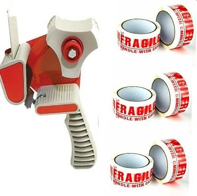 TAPE-DISPENSER-GUN 50mm+3 ROLLS FRAGILE HANDLE WITH CARE PACKING TAPE 66M X 48MM