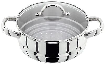Judge 20cm Stainless Steel Graduated Multi Steamer Insert With Glass Lid JX12