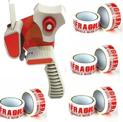 TAPE-DISPENSER-GUN 50mm+12ROLLS FRAGILE HANDLE WITH CARE PACKING TAPE 66M X 48MM