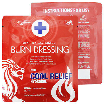 Blue Lion 10cm x 10cm First Aid Burncare Gel Pain Relief Emergency Dressing Pad