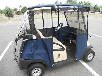"""New Golf Cart Universal Deluxe  """"hoodie"""" Enclosure Cover Navy Tan Red Reduced"""