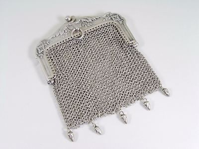 French Silver Laurel Berries & Flowers Mesh Chatelaine Bag / Purse