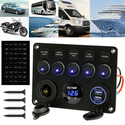 Marine Boat Waterproof Switch Panel 12 Volt Meter Circuit Breaker Led Rocker Usb