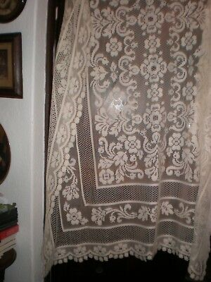 """Vintage Cotton Cream Lace  Oblong  Table Cloth 58 X 78""""  Little Used Great Value"""