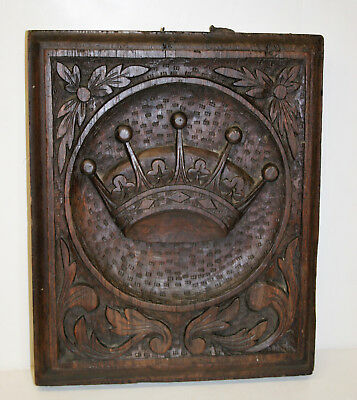 """Antique Architectural Salvage Irish Earl Coronet Gothic Carved Wood Panel 17"""""""