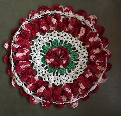 Vintage hand Crochet Doily red white green! Beautiful!!