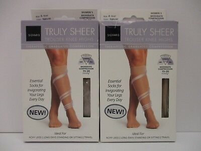 2 Sigvaris Truly Sheer Therapeutic Compression Knee Highs 15-20 Small Nt 3211