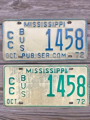 1972 Pair Mississippi Bus License Plate - Very Good Condition