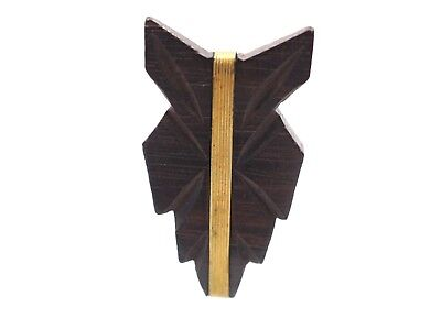 Old Vintage Antique Small Retro Wood And Brass Dress Fashion Clip