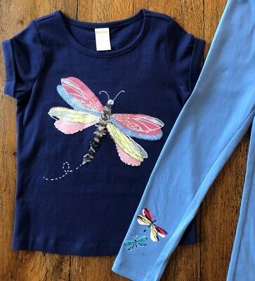 Gymboree Size 4 Outfit Dragonfly Top & Blue Leggings Glitter Sequins Girls New