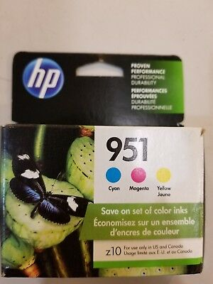 Hp 951 ink 3pk Colored cartridges (GENUINE) 2019 exp (opened but not used)
