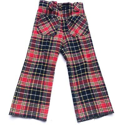VTG Kids 70s French Retro Plaid Tartan Red Blue Checked Flares Trousers 2-3 Y