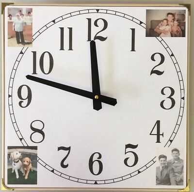 "17"" Personalized Four-Photo Wall / Table Clock"
