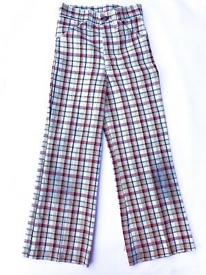 VTG Kids 70s Beige Red American Kitsch Retro Checked Flares Trousers 5-6-7 Y