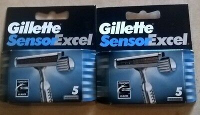 10 Blades Gillette Sensor Excel Shaving Razor Refill Blade Cartridges 2x packs 5