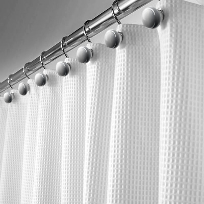 Fabric Decorative Shower Curtain, Soft Touch Waterproof Polyester Bathroom Curt