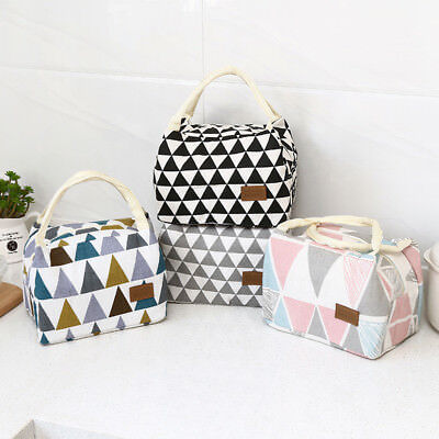 Woven Cool Bag Lunch Box School Office Picnic Insulated Thermal Cooler Handbags
