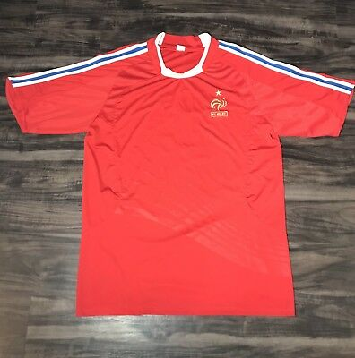 9bfecc51f69 Vintage France National Team Jersey FFF French Football Federation Soccer  Red XL
