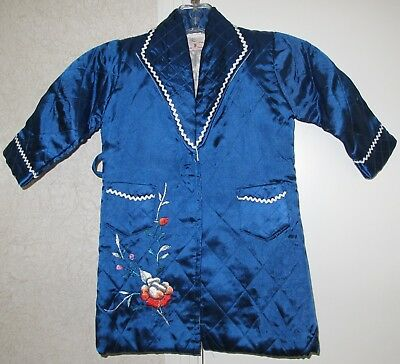 Vintage EMBROIDERED Satin CHILD'S ROBE from Post War JAPAN