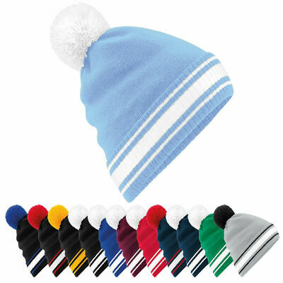 Mens Womens Stadium Sports Football Team Colours Double Layer Knitted Beanie Hat