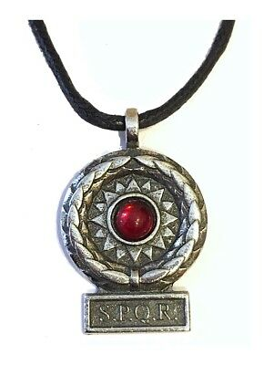 SPQR Roman Victory Pendant Necklace Costume RED 8819