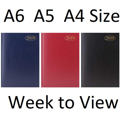2019 Hardback Diary A4  A5  A6 Week to View Hard Back Black Blue Burgundy