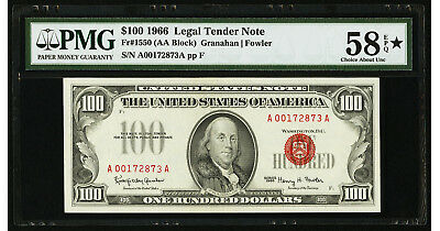 $100 1966 Legal Tender Note (AA Block) PMG 58 *EPQ Choice About Uncirculated
