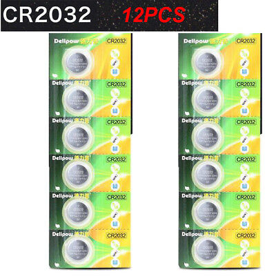 12PCS 3V Lithium CR2032 ECR2032 DL2032 Button Coin Cell Batteries
