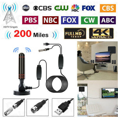 4K Digital Indoor Amplified TV Antenna With Amplifier 200 Miles Range HD 1080P
