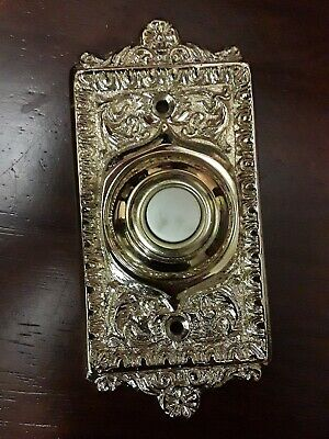 Brass Door Bell Cover doorbell Push button Light up glow scroll vines Polished