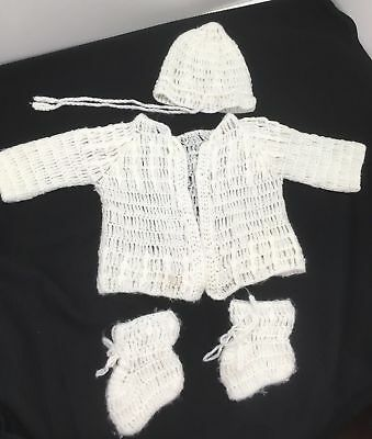 Vintage White Sweater Hat Booties 4 Piece Baby Outfit Hand Crochet PRECIOUS!
