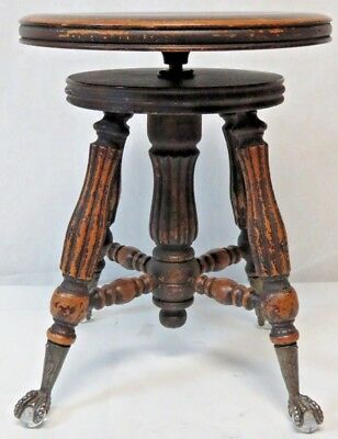 Vintage Antique Piano or Organ Round Stool with Glass Ball & Cast Iron Claw Feet