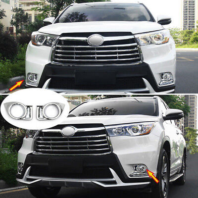 For Toyota Highlander Kluger 2014-2016 Chrome Front Fog Light Lamp Cover Trim