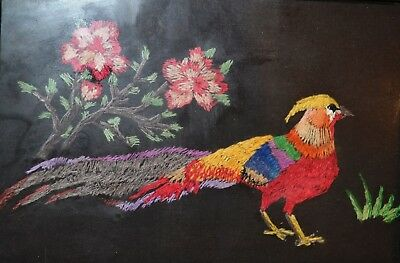 Vintage Hand Embroidered Linen Picture Pheasant and Flowers