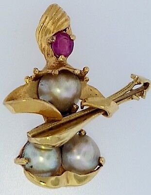 Jester Playing Madolin Pin or Charm~Solid 14K Yellow Gold with Ruby & Pearls Set