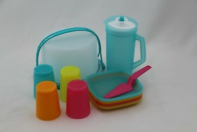 Tupperware Kid's 11 Pc. Party Set Cups & Plates & Cake Taker & Pitcher