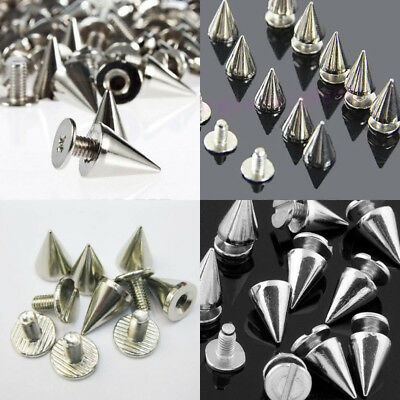 RUBYCA 100 Sets 10MM Silver Color Bullet Cone Spike and Stud Metal Screw...