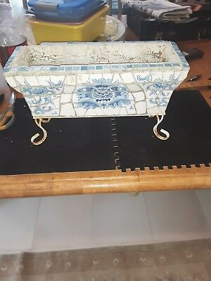 Rare Antique delf blue mosaic tiled flower pot w/ metal stand