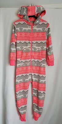 Fab girls Next neon pink/grey Christmas Xmas reindeer all-in-one piece 7-8 years