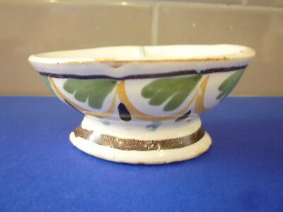 Dutch /  English Polychrome Delft Condiment Dish 18Th / 19Th C