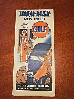 GULF OIL ROAD INFO-MAP - VINTAGE Fall 1935 - New Jersey