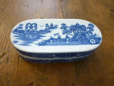 English Pearlware Lidded Razor / Dressing Box Chinoiserie C1800