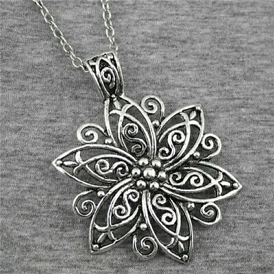 Retro Hollow Large Flower Pendant Charm Silver Necklace Chain Women Jewelry LH