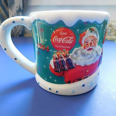 Coca Cola Coke Coffee Mug 2004 Santa Christmas Cup 20 oz Houston Harvest Large