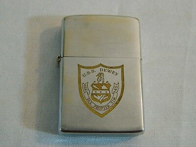 1982 US Navy USS Dewey DDG 45 PAX PROPTER VIM Silver Zippo Lighter Military USN