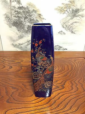 Antique Asian Chinese Japan painted bird Black Vase [Exc] From Japan