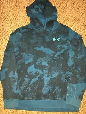 Boys Under Armour Aqua Blue Camouflage Camo Hoodie Youth Large YLG