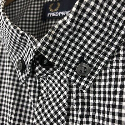 Fred Perry Mens Shirt Black White Large Gingham Check Long Sleeve RARE