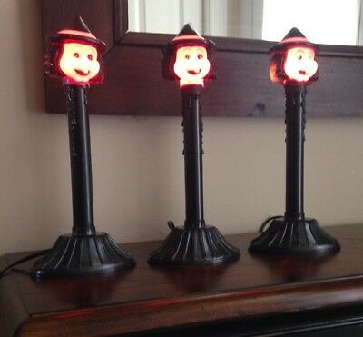 RARE Lot of 3 Black and Purple Candle Stick Witch Lights ~ Vintage Window Lamp